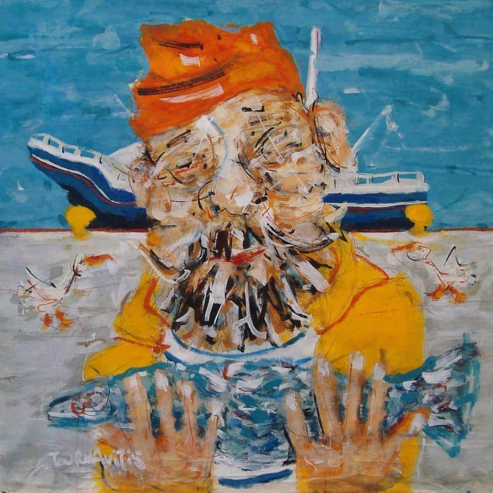 Fisherman, 59x57 cm, oil on canvas