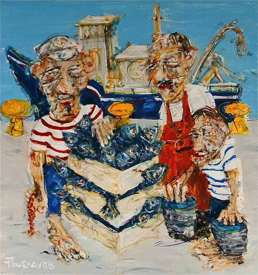 Fishermen, 150 x 150 cm, oil on cnavas